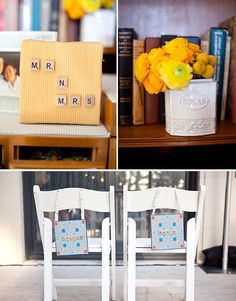 I know I've got to stop mixing themes here, but seriously, those bride and groom seat markers are adorable