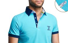 Turquoise Polo Shirt Checkered Lining Short-sleeves  $89.90 Men's Fashion XOOS French Shirts