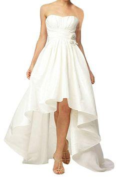 TOSKANA BRAUT Hi-Lo Traegerlos Abendkleider Kurz Taft Braut Cocktail Party Ball Hochzeitskleider-40-Elfenbein