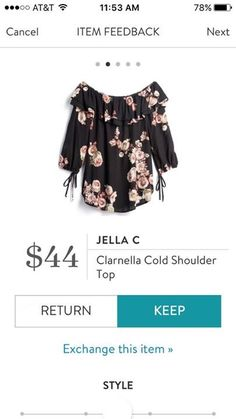 Im hesitant about cold shoulder tops - Id probably wear a camisole under this - but I love the floral print, ruffles, and ties.