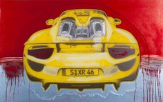 """Porsche 918 Spyder"" (rear view) 2014 lacquer paint on polymer painting (30x48 in) by Rand Heidinger  for the March 2014 Exhibition in conjunction with Porsche Winnipeg 660 Pembina Hwy."