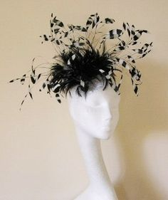 Black and White  Fascinator Hat for Kentucky by Hatsbycressida, $120.00