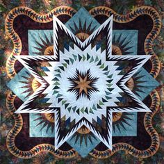 Judy Neimeyer spectacular note the flying geese quilting Autumn colors at their finest Lone Star Quilt Pattern, Half Square Triangle Quilts Pattern, Le Triangle, Star Quilt Blocks, Star Quilt Patterns, Star Quilts, Quilting Projects, Quilting Designs, Bargello Quilts