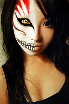 "So spooky ..Halloween makeup ! How fub to sit aside of someone with your ""plain face"",  then turn & face them for ""a scare""  I<3 Halloween !"