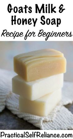 Goats Milk and Honey Soap Recipe Enjoy the benefits of all-natural goat milk soap. Made with real goat's milk. Diy Savon, Savon Soap, Soap Making Recipes, Homemade Soap Recipes, Easy Recipes, Goat Milk Recipes, Honey Soap, Soap Making Supplies, Goat Milk Soap