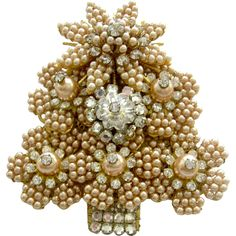 Stanley Hagler Faux Pearl and Crystal Margarita Fir Tree Brooch