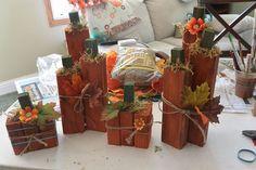 easy fall crafts, pumpkin, 2x4 project, autumn decor, 2x4s