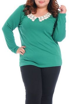 Stylish Peter Pan Collar Lace Splicing Long Sleeve T-Shirt For Women Plus Size Tops   RoseGal.com Mobile