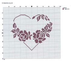 Heart with roses cross stitch