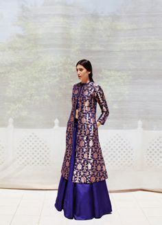 blue and gold anarkali. indian fashion. sanjay garg. prathna singh.