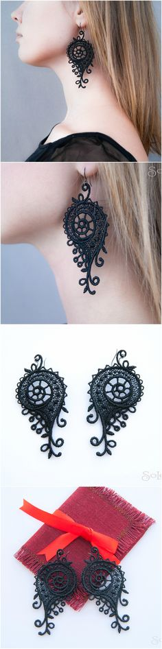 "Lace earrings ""Snails""/ dangle earrings // statement lace jewelry / bohemian long earrings, victorian, unique, boho US$20.50 #Jewellery #Earrings #Dangle#Drop #wedding #victorian #bridal #art #deco #statement #black #lace #bohemian #boho #gothic #vintage"