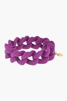 MARC BY MARC JACOBS Purple Haute Mess Rubber Turnlock Key Bracelet