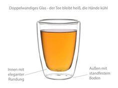 Besonderheiten der doppelwandigen Gläser: Thermowirkung ⟶ der Tee bleibt heiß, die Hände kühl Borosilikatglas ⟶ besonders hitzebeständig und bruchsic… Tee Set, Pint Glass, To Go, Beer, Tableware, Process Engineering, Fine China, Teacup, Facts