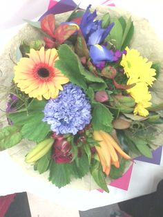 Bright Fresh Flower Posey from Sendabasketsa - Unley. Congratulations Promotion, Congratulations Baby, Corporate Gift Baskets, Corporate Gifts, Hampers, South Australia, Fresh Flowers, Happy Easter, Fathers Day