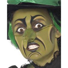 Heksen schminkset. Dit heksen schminkset bestaat uit schmink, een neus, potloden en een sponsje.