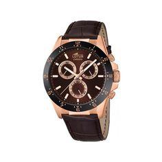 Montre Lotus, homme, mouvement à quartz, chronographe, boitier acier doré rose, cadran marron, bracelet cuir, étanche 5 ATM
