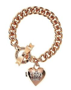 Juicy Couture Jewelry Rose Gold Crown Heart Locket Charm Bracelet: Jewelry