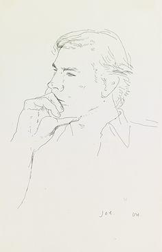 David Hockney (British, b. 1937), Joe, 1977. Ink on paper, 31.4 x 20.3 cm.