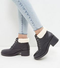 Black Shearling Top Lace Up Boots