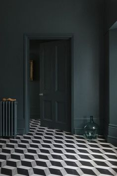 Ad // Do you have floor tiles in your home? I get so tempted when I see geometric tiles like these from - aren't they fabulous? I couldn't resist. Dark Green Walls, Dark Walls, Dark Painted Walls, Dark Blue Bedroom Walls, Dark Green Living Room, Dark Bedrooms, White Walls, Decor Interior Design, Interior Decorating
