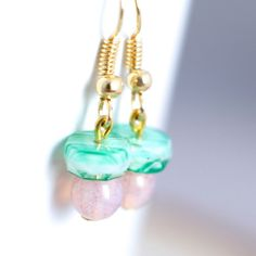 Pink and Green Dangle Earrings