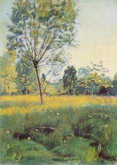 La prairie d or, huile sur toile de Ferdinand Hodler (1853-1918, Switzerland)