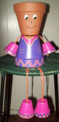 Clay Pot People | Items similar to Classic Clay Flower Pot People on Etsy
