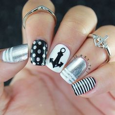 53 Collection of Awesome Anchor Nail Art Designs - Nails C Get Nails, Fancy Nails, Love Nails, Hair And Nails, Fabulous Nails, Gorgeous Nails, Pretty Nails, Anchor Nail Art, Nautical Nails