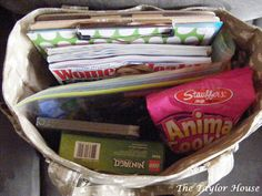 "Mom's Travel Bag   Taking a Road trip with kids can be totally insane!      So, not only do I pack bags for your kids{watch for this guest post coming soon over at Mom On Time Out}, I also pack some ""extra"" activities and fun things in my Mom Travel Survival Bag."