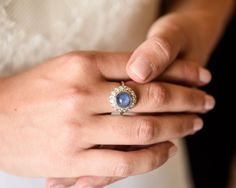 The night before the rehearsal dinner, Maxi gave me the most beautiful pale blue sapphire ring from the 1930s. I have worn it every day since.
