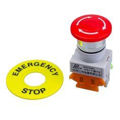Red Mushroom Cap 1NO 1NC DPST Pulsador De Parada de Emergencia Interruptor de Botón AC 660 V 10A