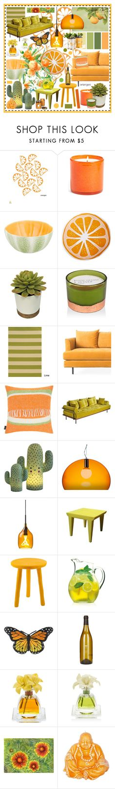 """Citrus"" by beanpod ❤ liked on Polyvore featuring interior, interiors, interior design, home, home decor, interior decorating, LAFCO, Bordallo Pinheiro, Nordstrom Rack and Paddywax"