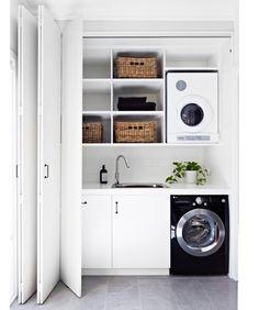 Overhead cupboards in laundry