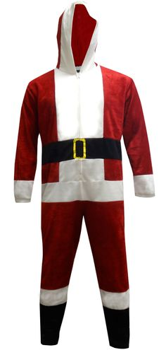 Dress Like Santa Fleece Men s Onesie Hooded Pajama Size Small ced8e0662