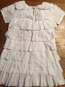 April Cornell Girls Size 3 4 White Short Sleeve Ruffle Dress Worn 1 Time   eBay