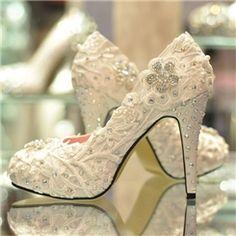 豪華なエレガントレースフラワーラインストーンの結婚式の靴