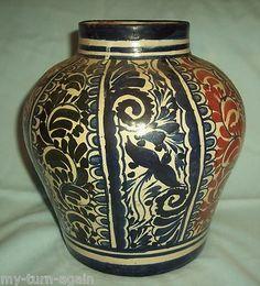 Vintage Old Mexico Mexican Talavera Pottery Big Large Majolica Cobalt Blue Vase | eBay
