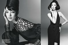 Model Fei Fei Sun channels Avedon muse China Machado in this beautiful spread for Vogue Italia. I love the 60's hair and make-up! So stunning! Bobbins and Bombshells