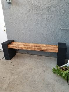 Black Cinder blocks and Charred Wood Makes a Perfect Bench Diy Patio, Backyard Patio, Backyard Landscaping, Landscaping Blocks, Patio Ideas, Landscaping Ideas, Backyard Ideas, Backyard Projects, Garden Projects