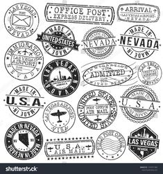 Las Vegas Nevada Stamp Vector Art Postal Passport Travel Design Set Vintage Stickers, Cute Stickers, Aesthetic Template, Aesthetic Stickers, Travel Stamp, Passport Travel, Airmail Envelopes, Postage Stamp Design, Black And White Stickers