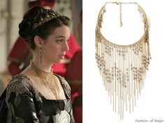 """the episode 3x11 (""""Succession"""") Queen Mary wears this Erickson Beamon 'Ballroom Dancing' Gold-Plated Swarovski Crystal Necklace"""