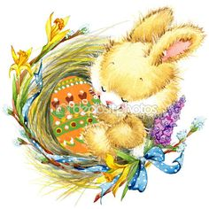 Пасхальный кролик и пасхальные яйца. Акварель — стоковое изображение #67684159