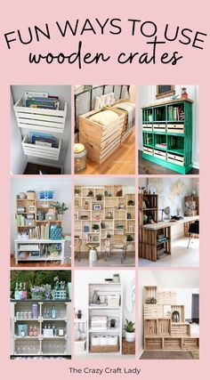 Uses For Wooden Crates, Wooden Crates Desk, Wooden Crate Furniture, Crate Desk, Crate Shelves, Craft Room Closet, Glam House, Wood Block Crafts, Storage Solutions