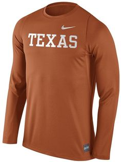 Rack up the points in elite Nike style with this men's Texas Longhorns tee. PRODUCT FEATURES Team wordmark graphic Crewneck Long sleeves Polyester Machine wash Imported