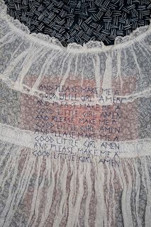 """Carolyn Nelson ~ """"Self-portrait as a 4-year Old"""" (detail of embroidered text)  Antique child's dress, deconstructed, hand-dyed silk, handstitched"""