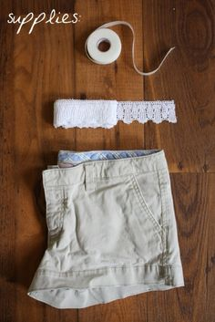 DIY lace shorts. No sewing required! I need to do this to some of Katie's too-short shorts.  Probably will still sew--iron on tape always comes loose in the wash.
