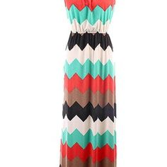 Multi Color Chevron Maxi Dress (Hazel and Olive)