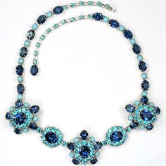 Christian Dior by Kramer Sapphire Turquoise & Aquamarines Floral Necklace #ChristianDior $675