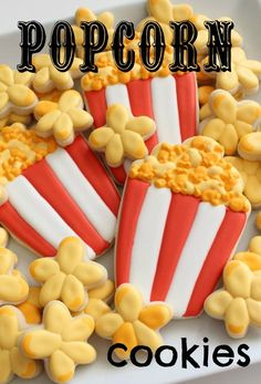 Popcorn cookies from a cupcake cutter and popcorn pieces from a small wonky flower cutter