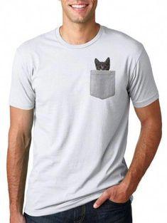 bd07ed7e Mens Pocket Cat T Shirt Funny Cute Peeking Kitten Tee S, Men's, Size: